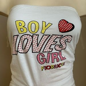 Fiorucci boy loves girl bandeau top